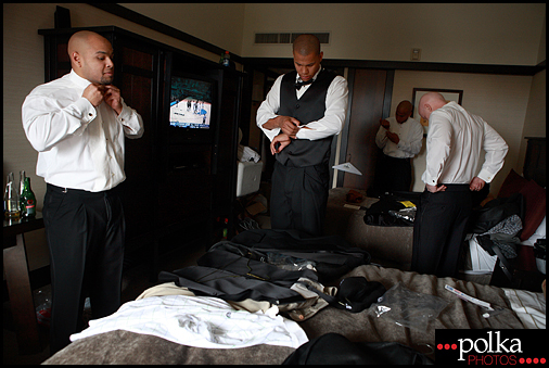 wedding groomsmen getting ready Santa Monica Ambrose Hotel