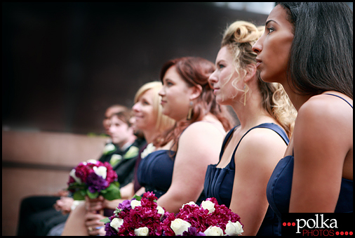 wedding, bridesmaids, blue dresses, Santa Monica, California