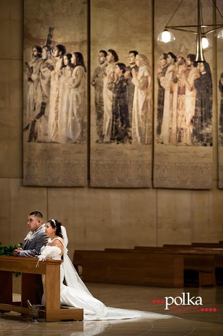 church wedding; Los Angeles; OLA; Our Lady of the Angels; Cathedral of Our Lady of the Angels; saints, Los Angeles wedding photographer
