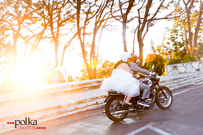 motorcycle wedding, getaway, wedding getaway, Palos Verdes, Palos Verdes wedding, Wayfarers Chapel wedding, Wayfarers Chapel, Wayfarers Chapel wedding photographer, yellow, Triumph motorcycle, Triumph Bonneville